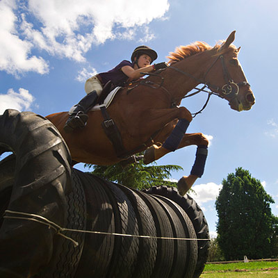 Woman on horse jumping tires